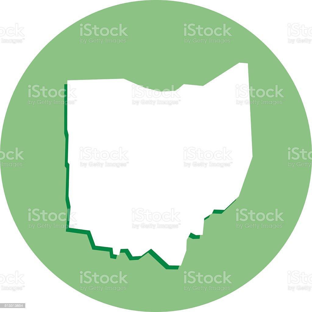 Ohio Round Map Icon vector art illustration