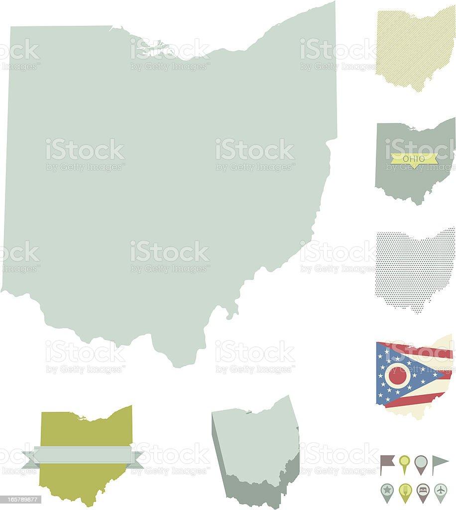 Ohio State Maps vector art illustration