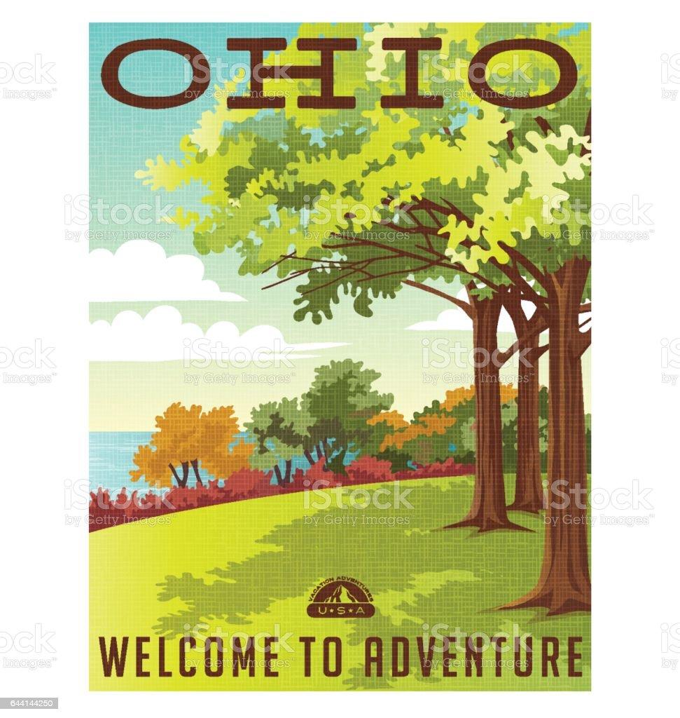 Ohio travel poster or sticker. Vector illustration of park overlooking lake erie. vector art illustration
