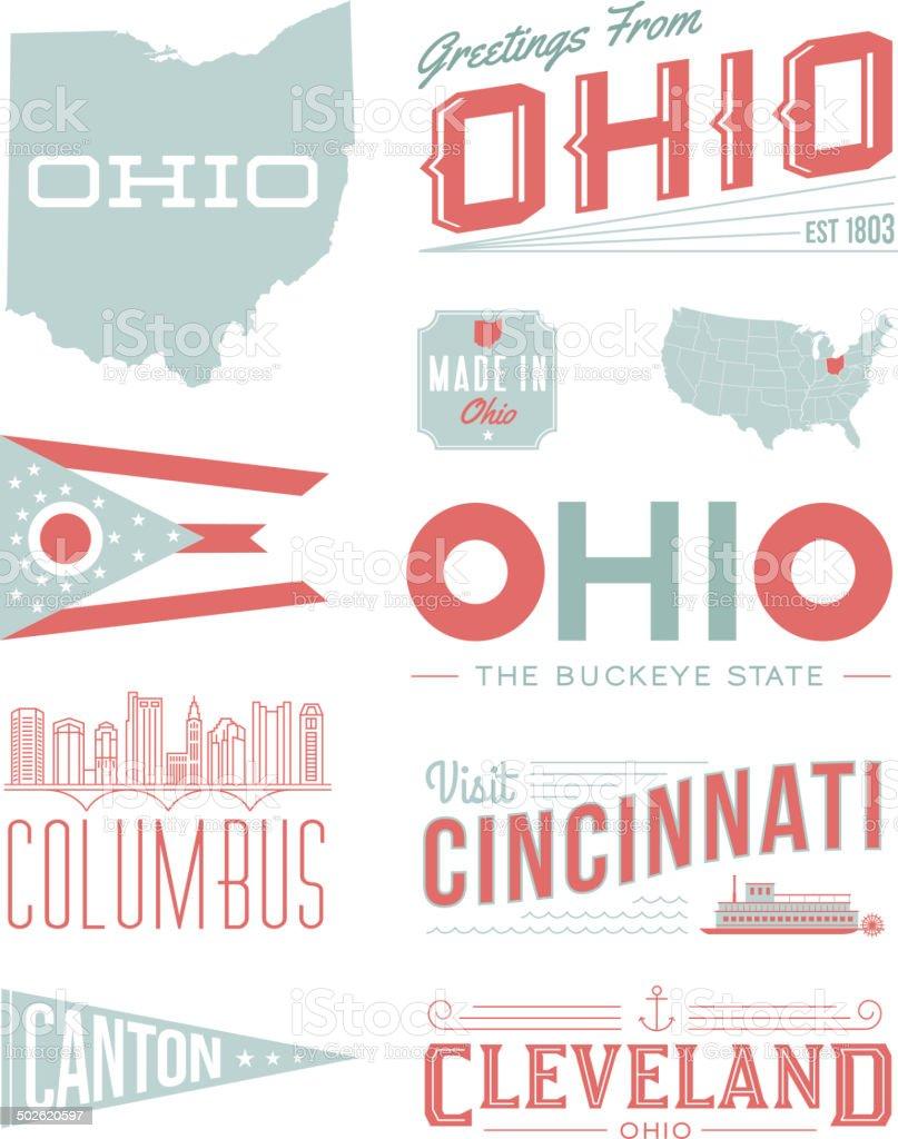 Ohio Typography vector art illustration
