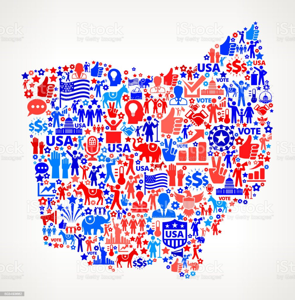 Ohio Vote and Elections USA Patriotic Icon Pattern vector art illustration