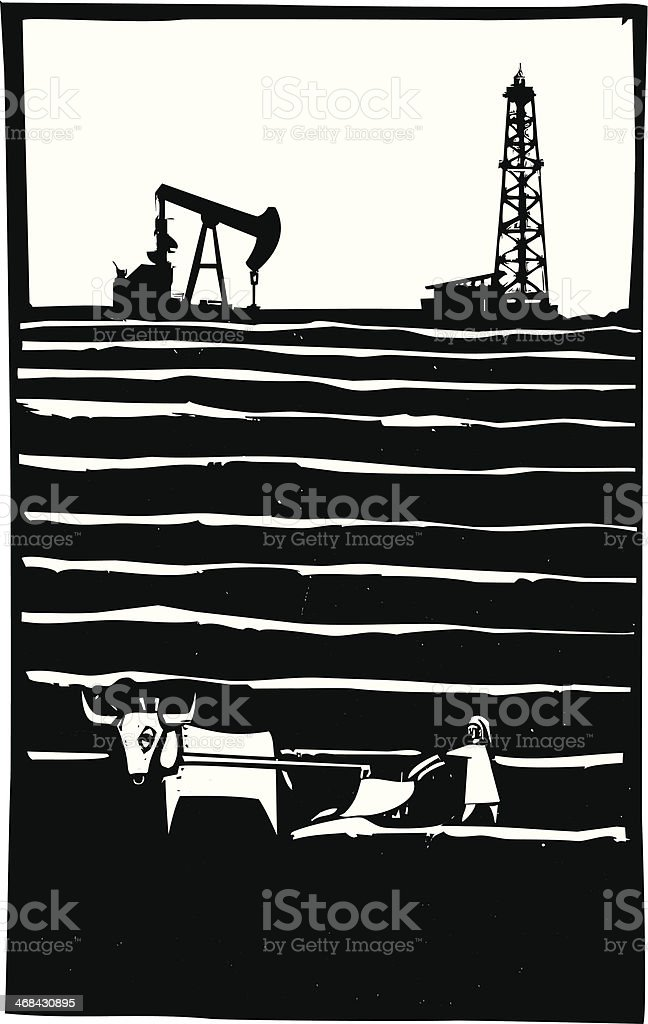 Oil and Farm vector art illustration