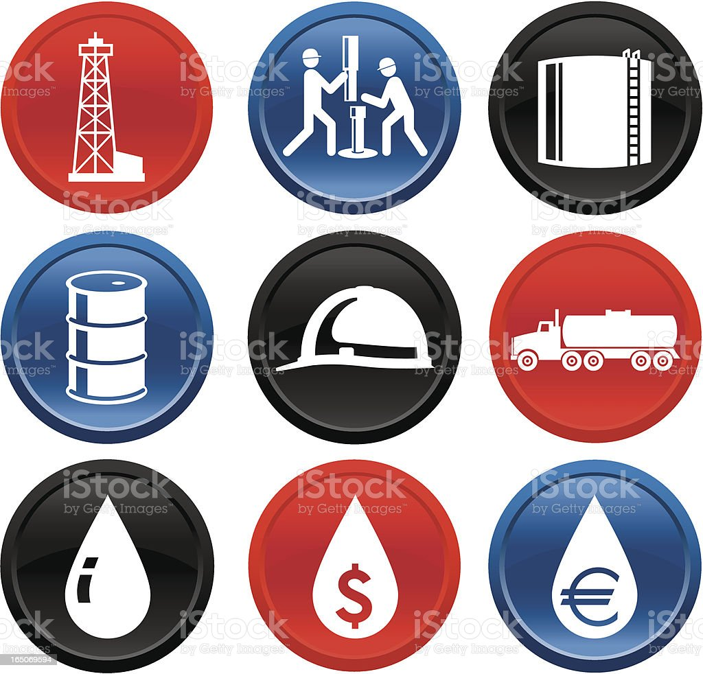 Oil and Gas Icons on Buttons Series One royalty-free stock vector art