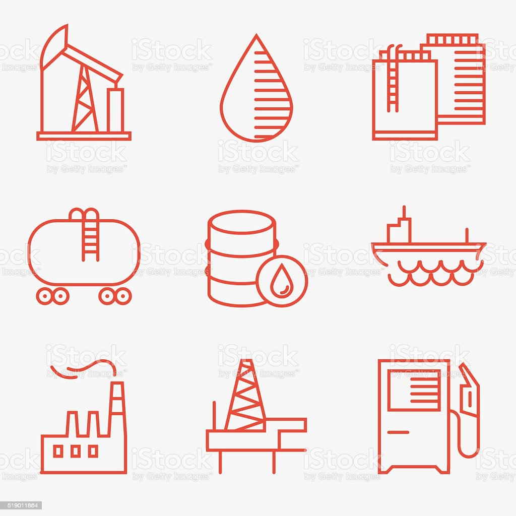 Oil and gas icons vector art illustration