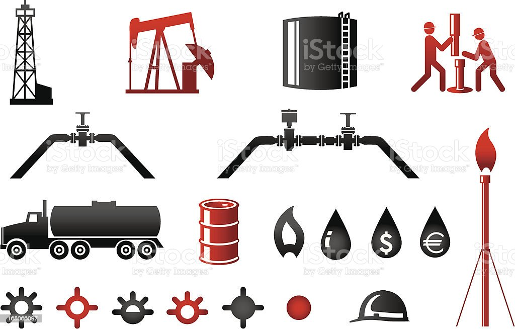 Oil and Gas Industry Icons Series 2 vector art illustration