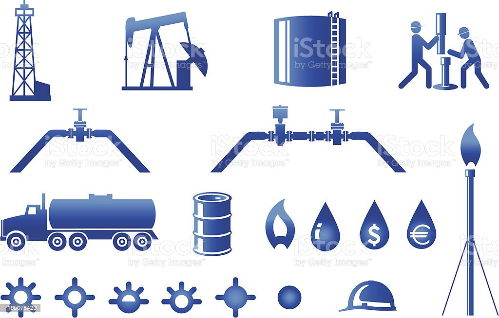 Oil and Gas Industry icons vector art illustration