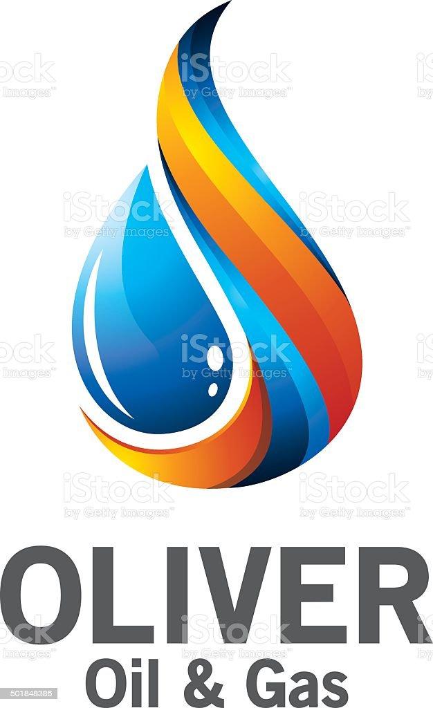 3D oil and gas logo design. vector art illustration