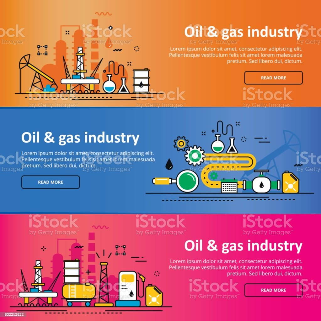 oil and gas production industry process website color banner set