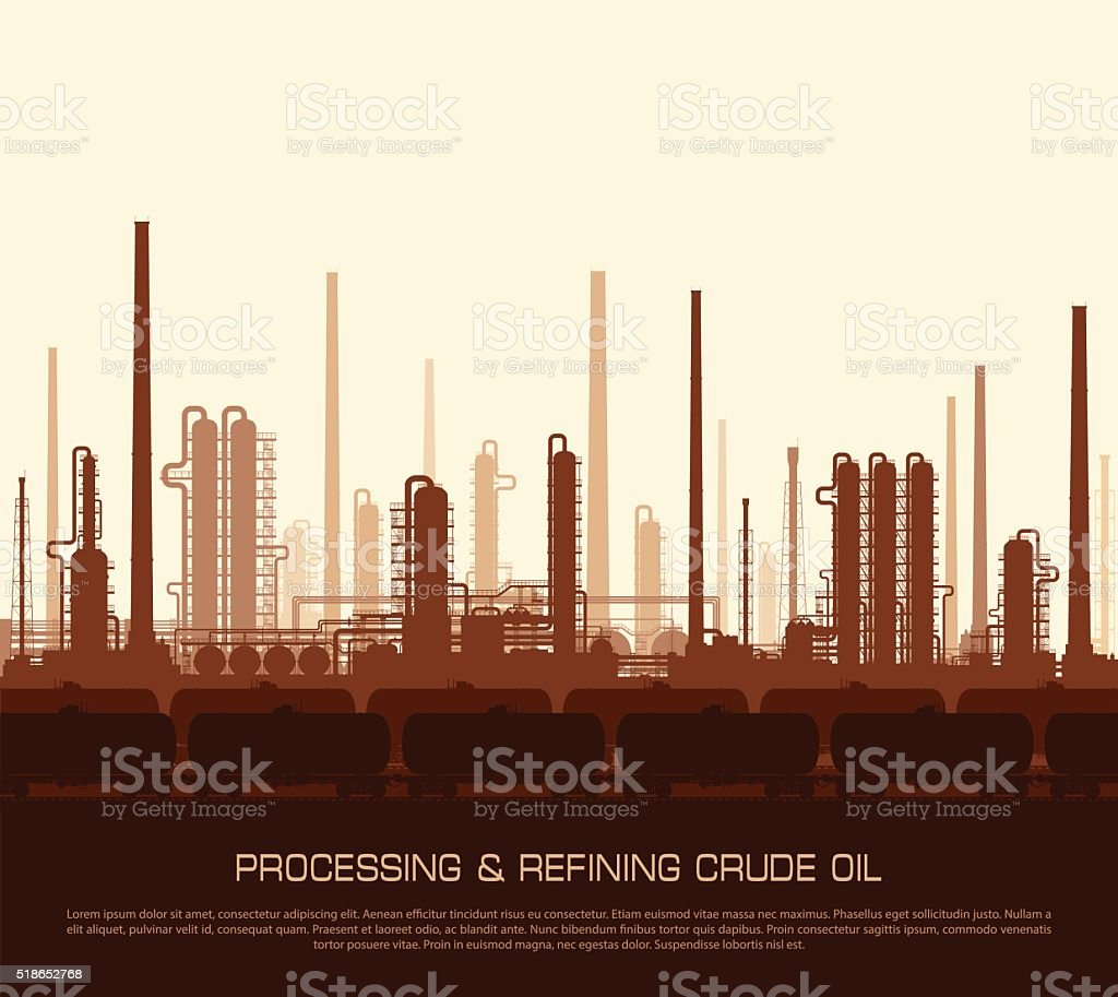 Oil and gas refinery at sunset vector art illustration