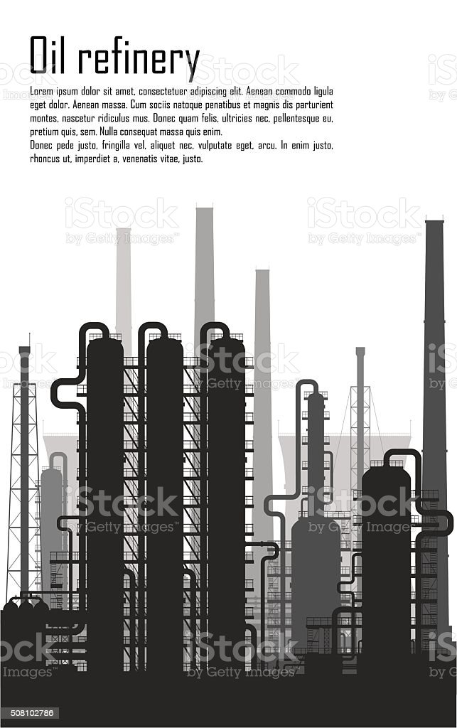 Oil and gas refinery isolated on white background vector art illustration
