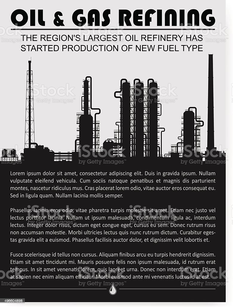 Oil and gas refinery or chemical plant silhouette. vector art illustration