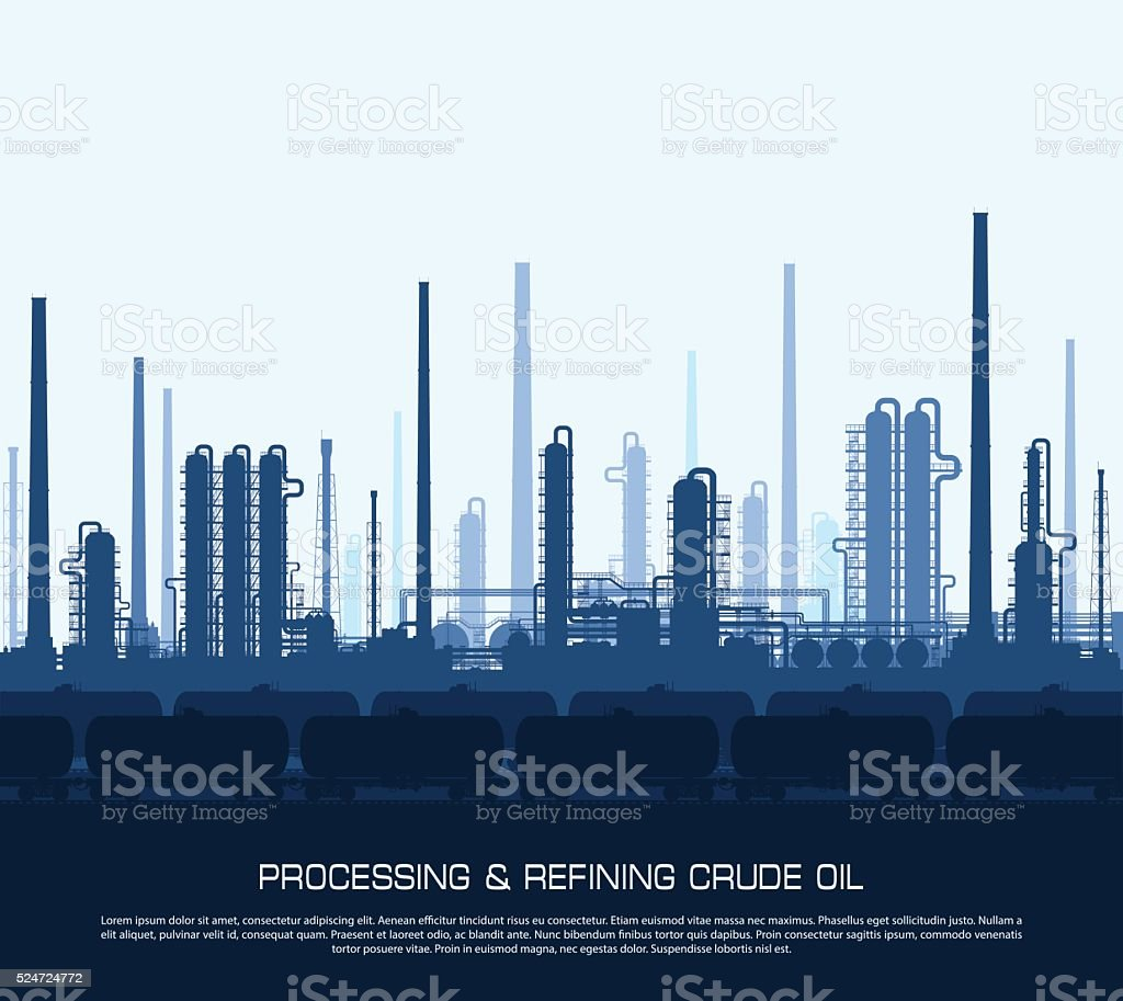 Oil and gas refinery vector art illustration