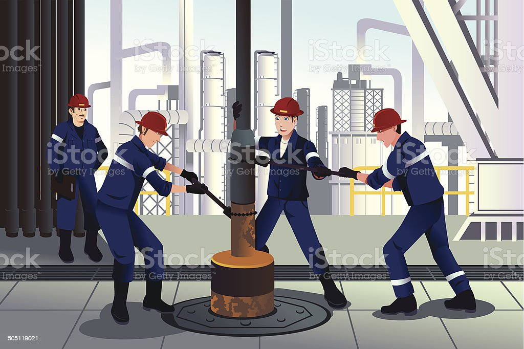 Oil and gas workers vector art illustration
