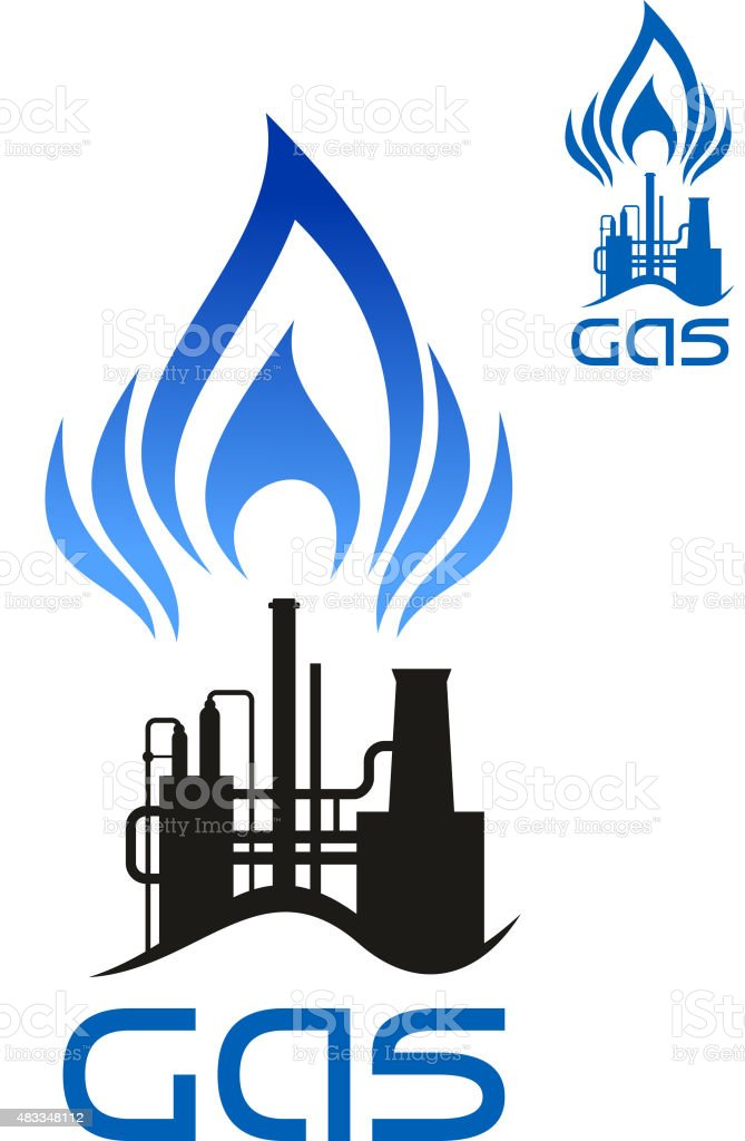 Oil and natural gas industrial factory vector art illustration