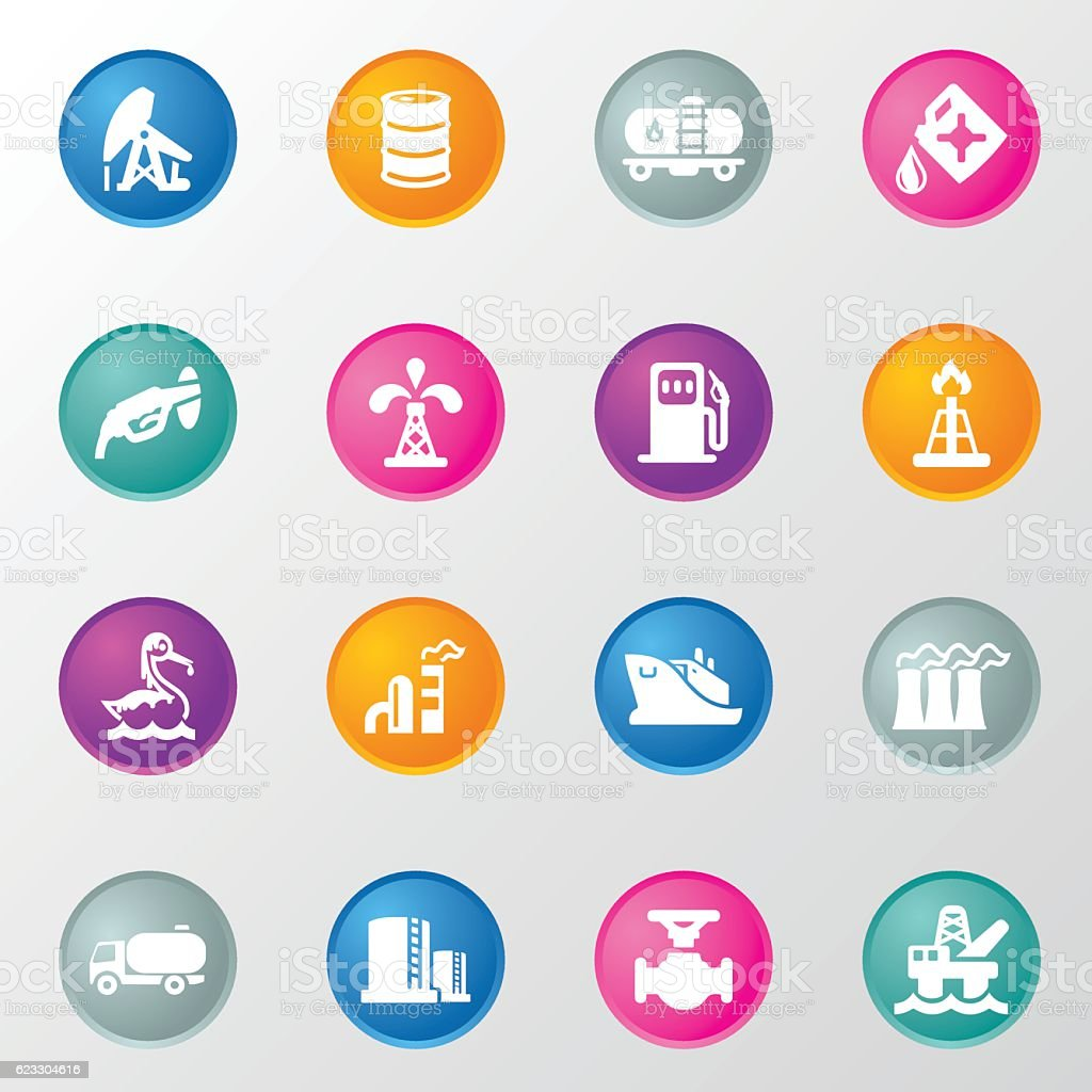 Oil and Petrol Industry Circle Color Icons vector art illustration