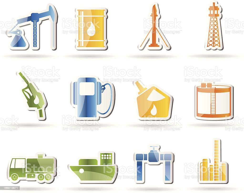 Oil and petrol industry icons royalty-free stock vector art