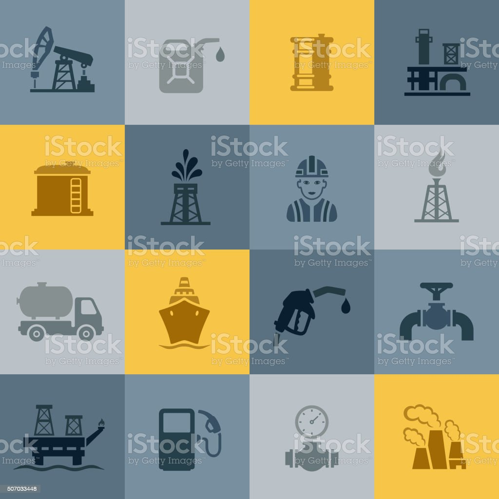 Oil and Petrol Industry Icons vector art illustration