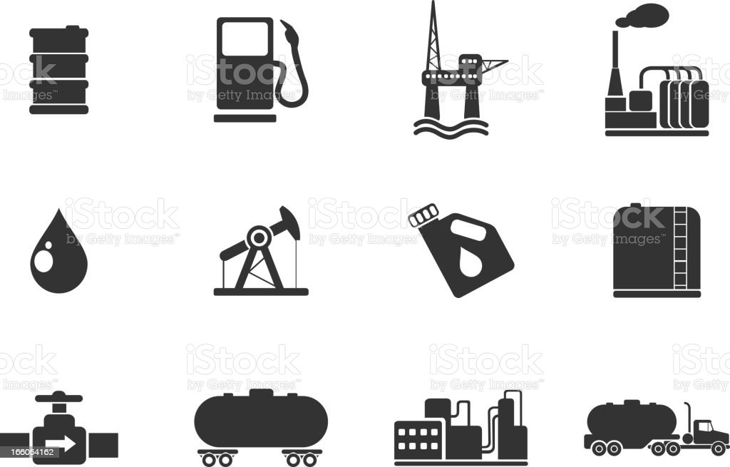 Oil and petrol industry objects icons vector art illustration
