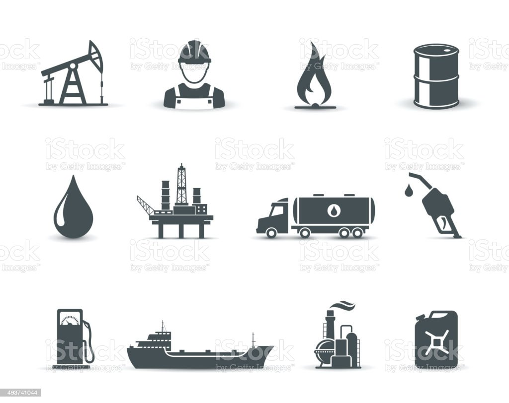 Oil and petroleum industry icons vector art illustration