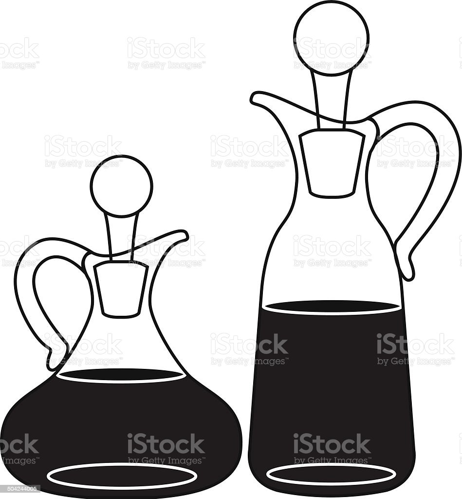 oil and vinegar bottles vector art illustration