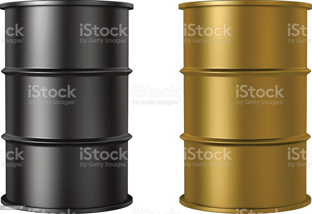 Oil barrels isolated on white background, black and gold color vector art illustration