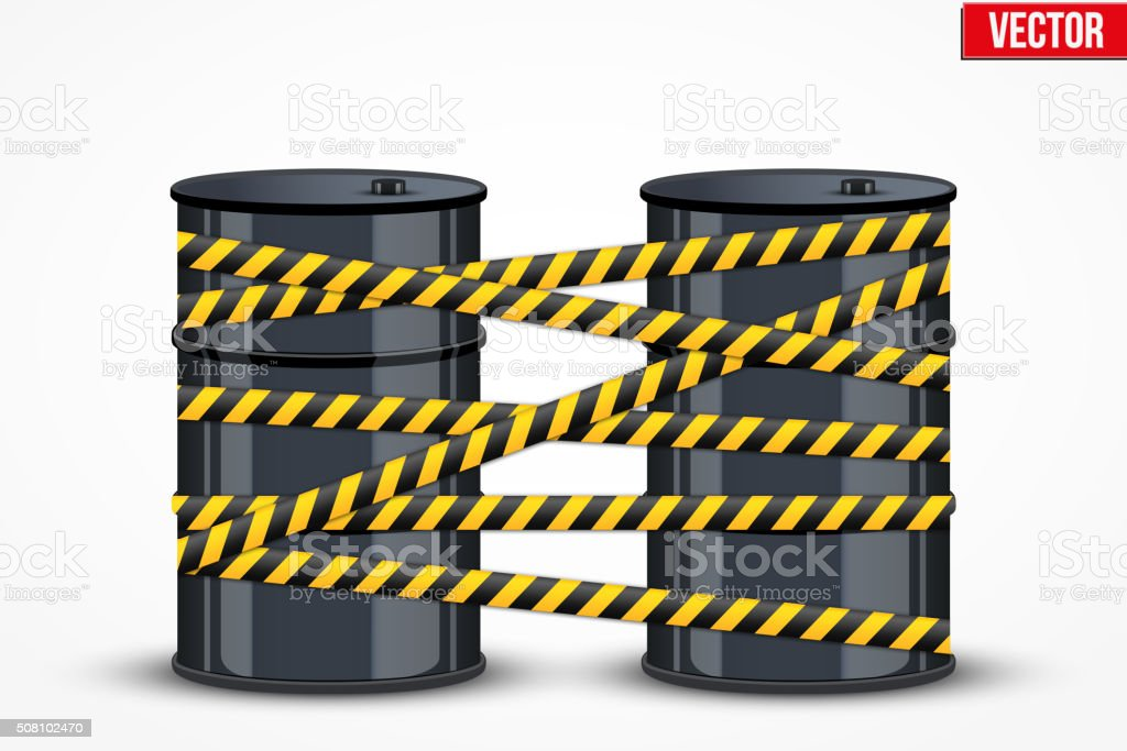 Oil barrels with danger line vector art illustration
