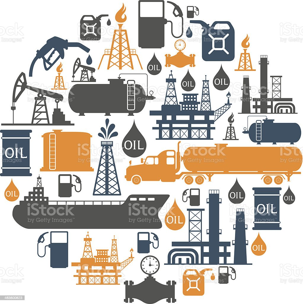 Oil Collage vector art illustration