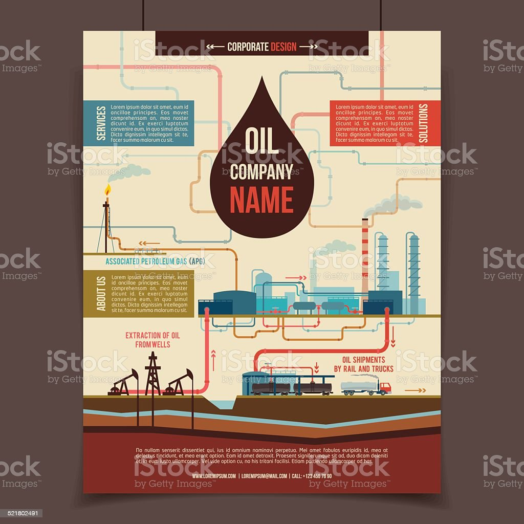 Oil company corporate poster vector art illustration