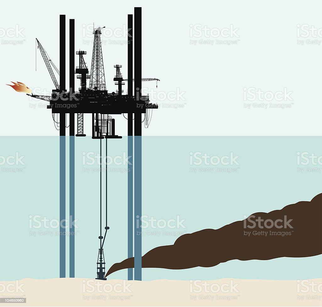 oil deep sea pollution royalty-free stock vector art