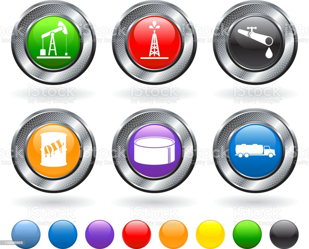 oil delivery icon set vector art illustration