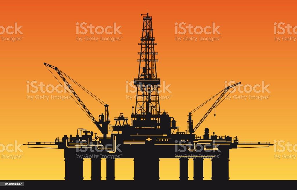 Oil derrick in sea vector art illustration