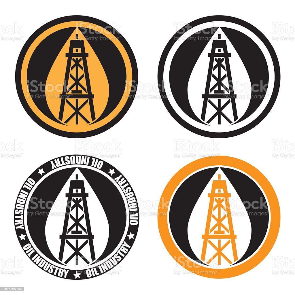 oil derrick logo vector art illustration