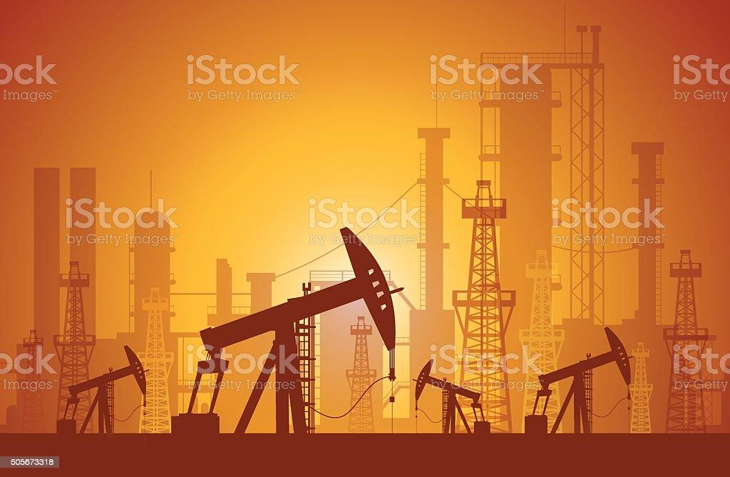 Oil derrick vector art illustration
