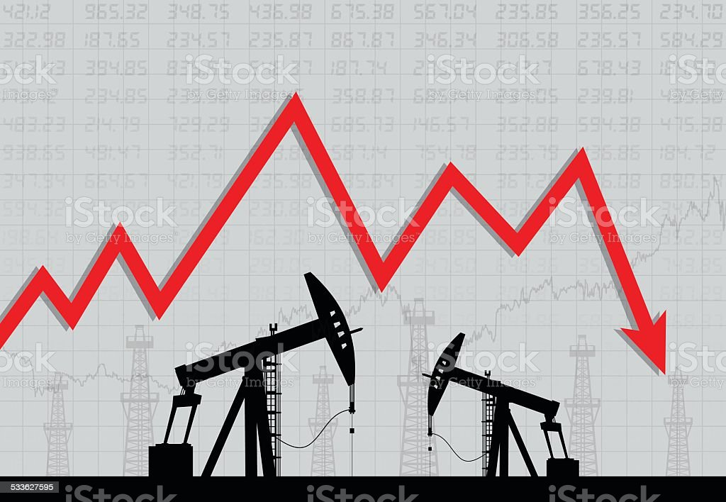 Oil derricks and financial crisis vector art illustration