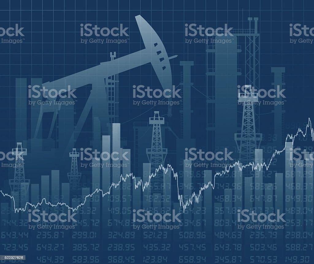 Oil derricks and financial data vector art illustration