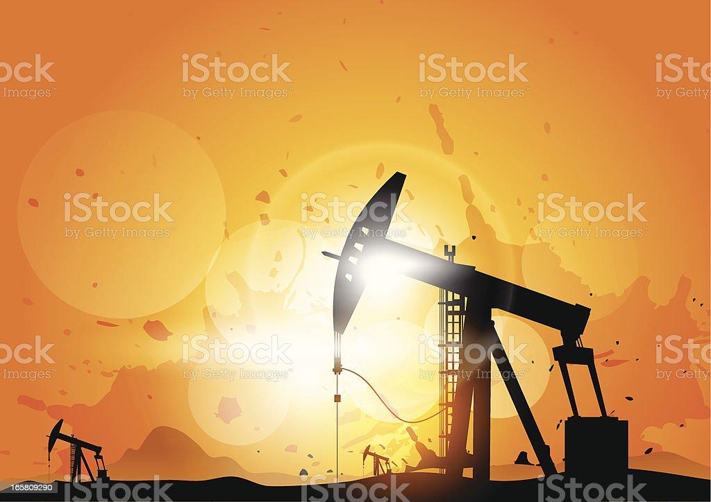 Oil derricks royalty-free stock vector art