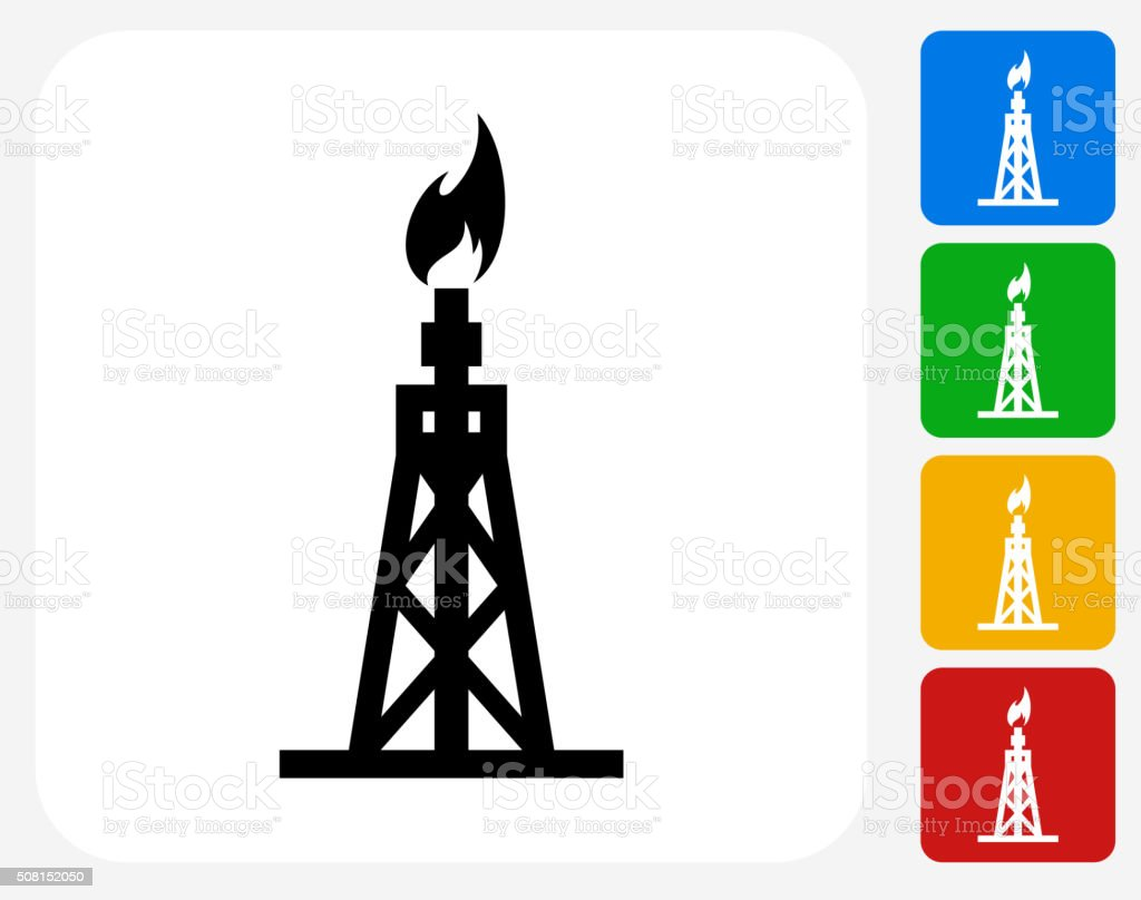 Oil Drill Icon Flat Graphic Design vector art illustration