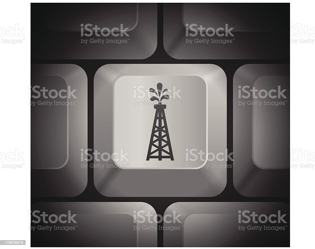 Oil Drill Icon on Computer Keyboard royalty-free stock vector art