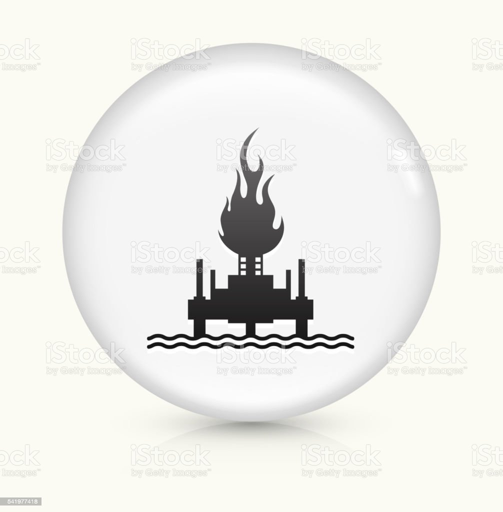 Oil Drill on Fire icon on white round vector button vector art illustration