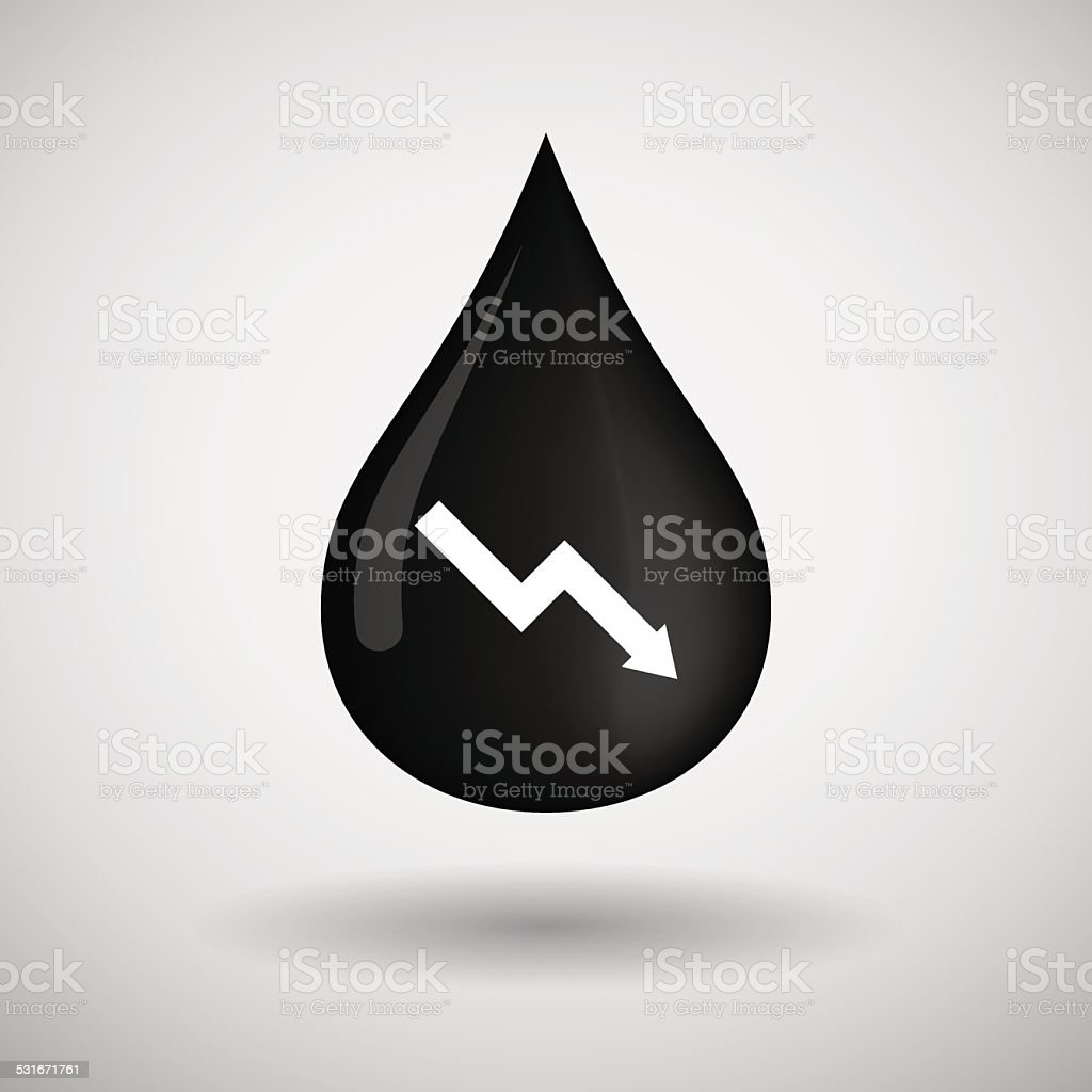 Oil drop icon with a graph vector art illustration