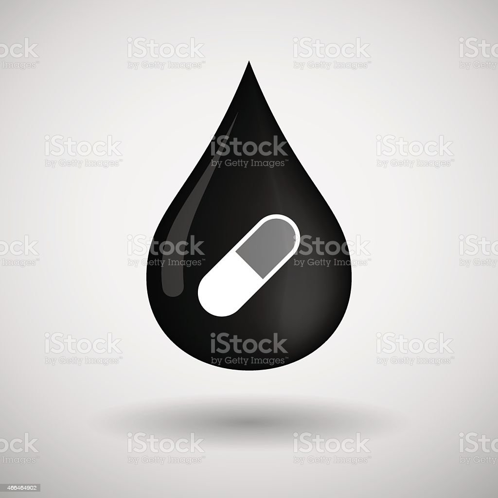 Oil drop icon with a pill vector art illustration