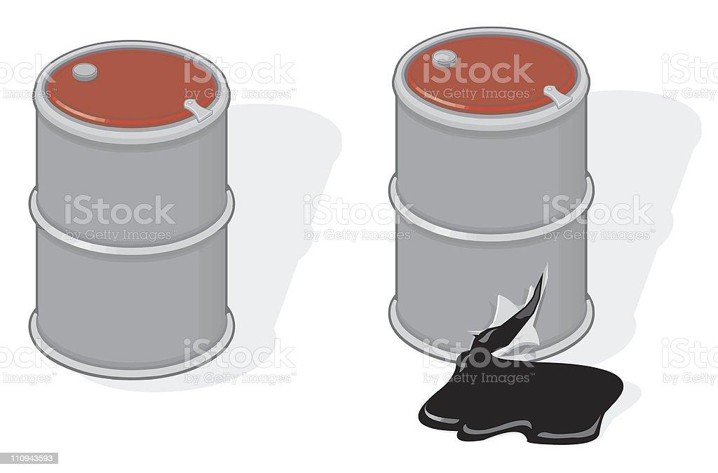 Oil Drum Leaking. vector art illustration