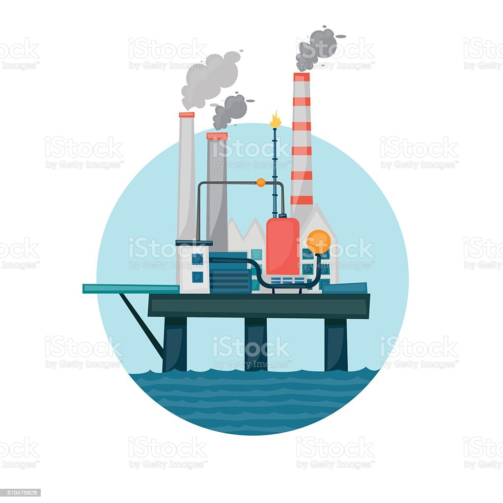 Oil extraction sea platform in the circle. vector art illustration