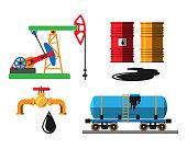 Oil extraction transportation vector illustration