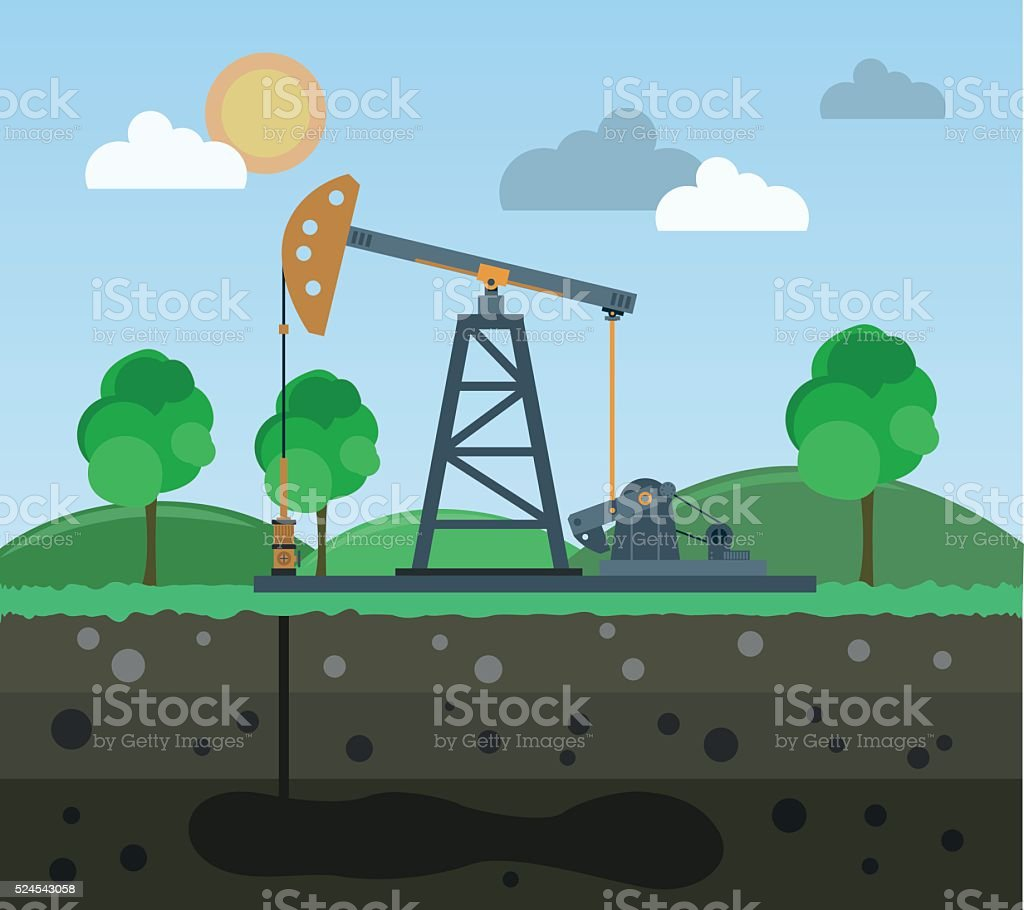 Oil field on the background of nature vector art illustration