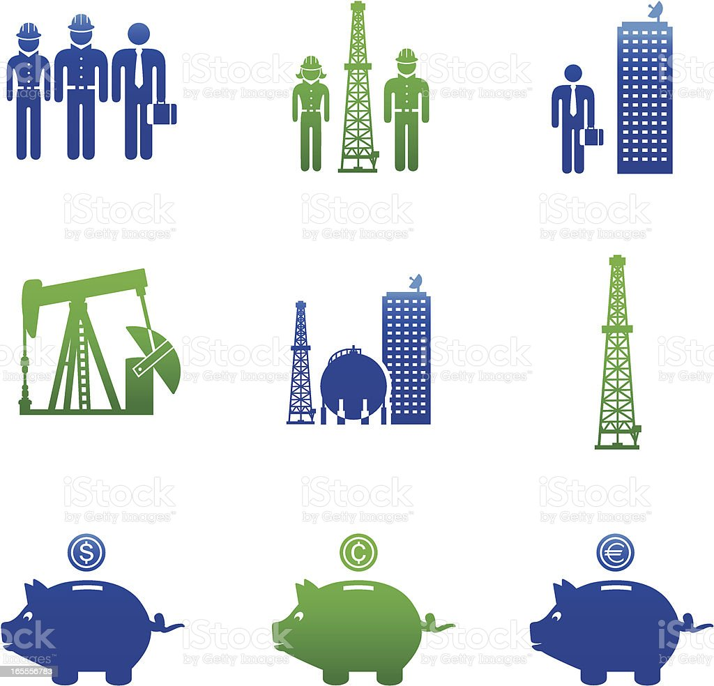 Oil & Gas Industry Careers Icons-Green and Blue royalty-free stock vector art