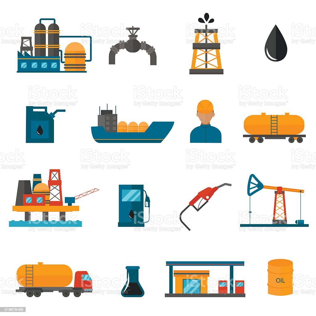 Oil gas industry manufacturing icons for infographic vector art illustration