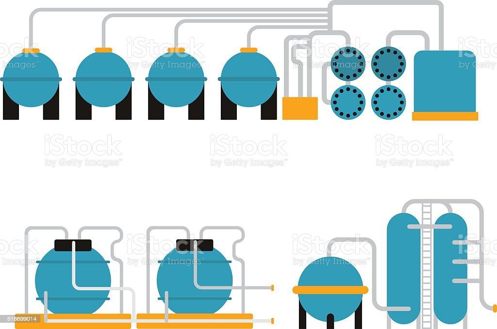 Oil gas storing in cargo service terminal flat vector illustration vector art illustration
