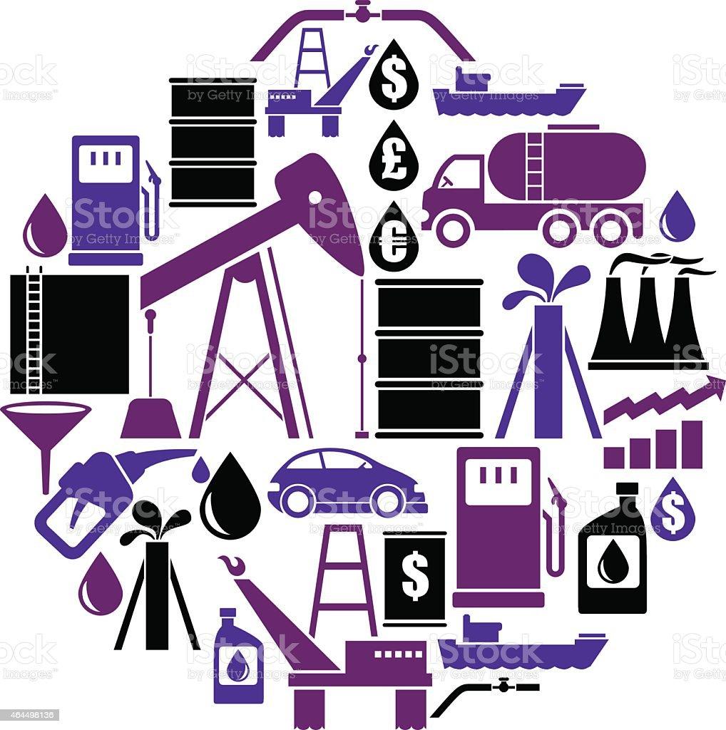 Oil Icon Set vector art illustration