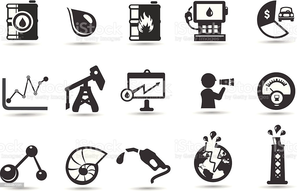 Oil Icons and Symbols vector art illustration